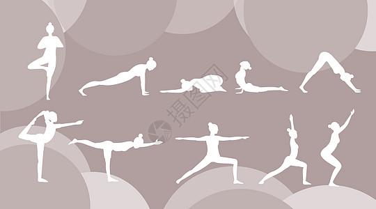 瑜伽剪影 运动健身图片