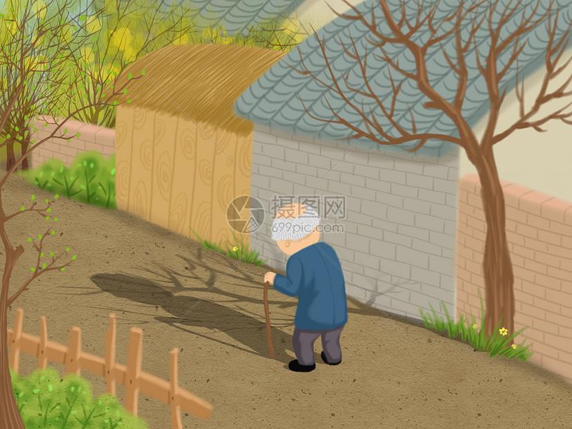 孤独的老人图片