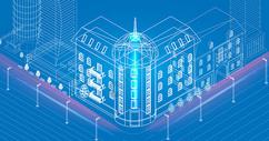 科技城市楼房线条图片