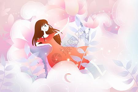 唯美云朵里的少女图片