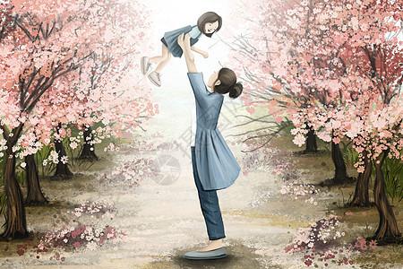母亲节樱花树下母子嬉戏图片