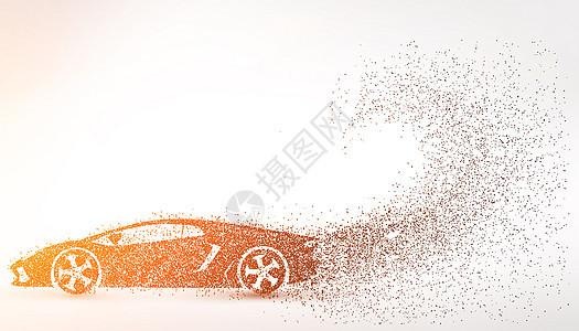 创意跑车剪影粒子图片