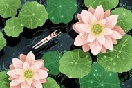夏天荷塘游泳图片