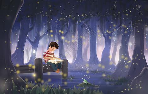 森林中看书的小男孩图片