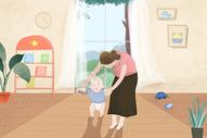 母亲节亲子母子插画图片