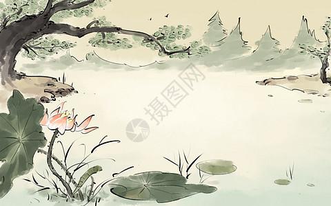 中国风池塘图片