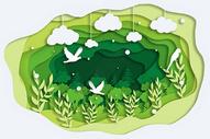 剪纸风绿色森林图片