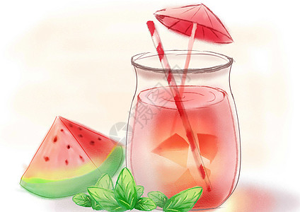 夏季西瓜水果汁图片