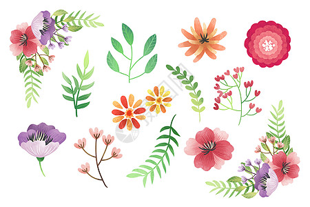 小花叶子元素图片