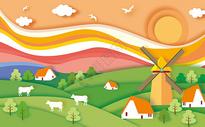 落日牧场剪纸风图片