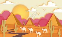 沙漠骆驼剪纸风图片