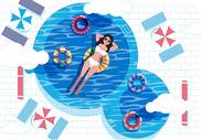 夏日泳池游泳插画图片