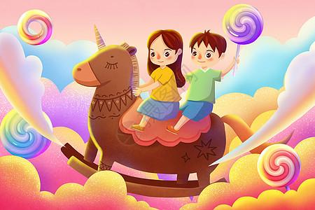 骑在木马上面的孩子图片