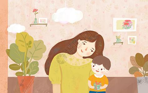 母亲节礼物亲子插画图片