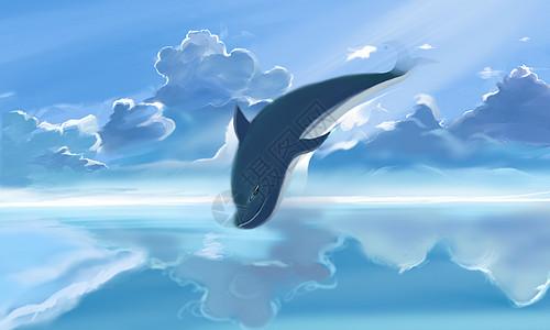 天空与鲸鱼高清图片