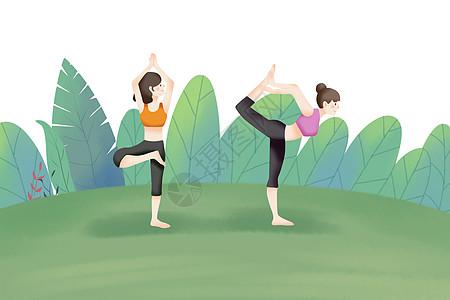闺蜜练习瑜伽图片