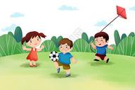 儿童节 草地上玩耍图片