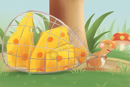 儿童插画小老鼠偷奶酪图片