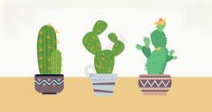 水彩盆栽素材图片