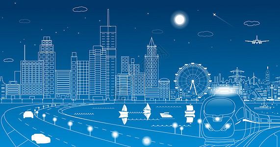 城市线条剪影图片