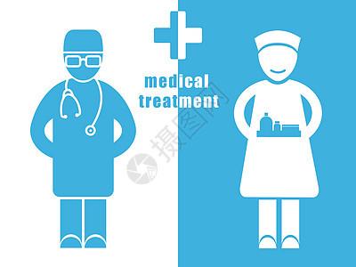 医疗人物正负形图片