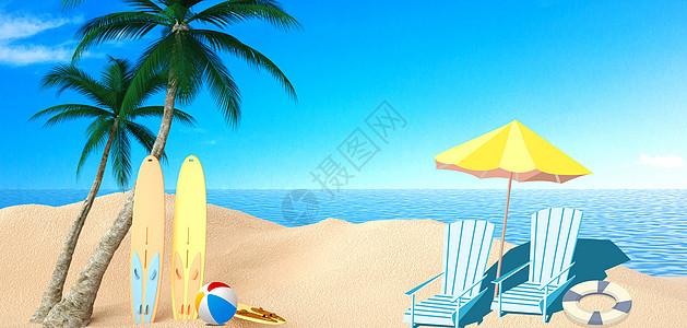 夏天清凉旅行休闲背景图片