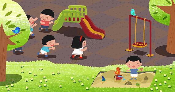 孩子在游乐园图片