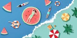 夏日清凉海浪沙滩图片