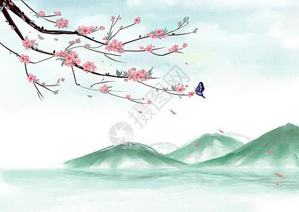 花卉山水背景图片