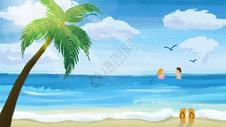 夏日场景海边沙滩插画图片