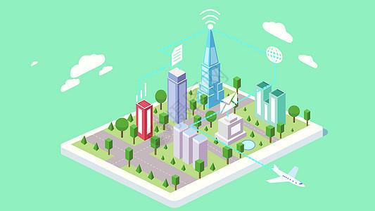 城市互联2.5d矢量图片