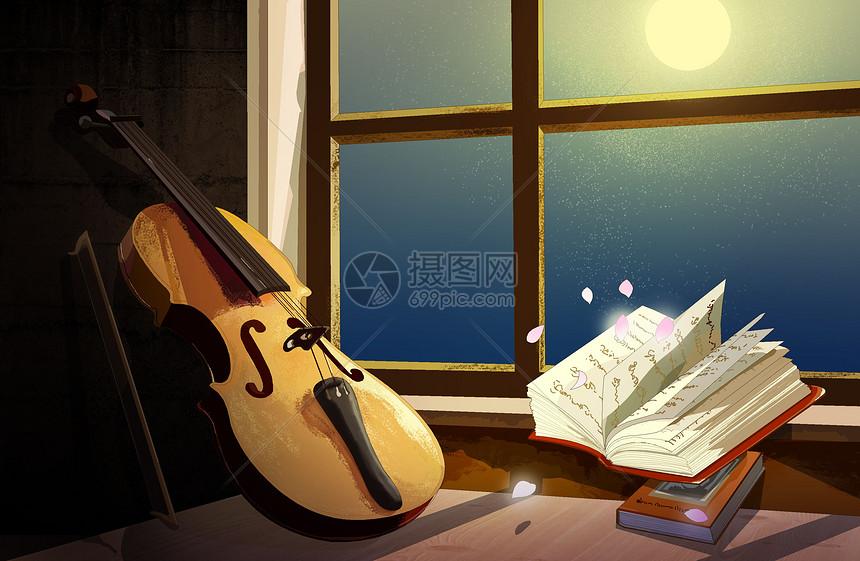 月光下的小提琴图片