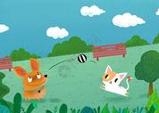 玩球的小动物图片