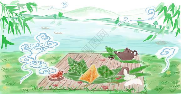端午节吃粽子划龙舟图片