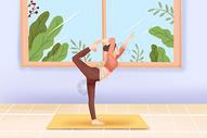室内练习瑜伽图片