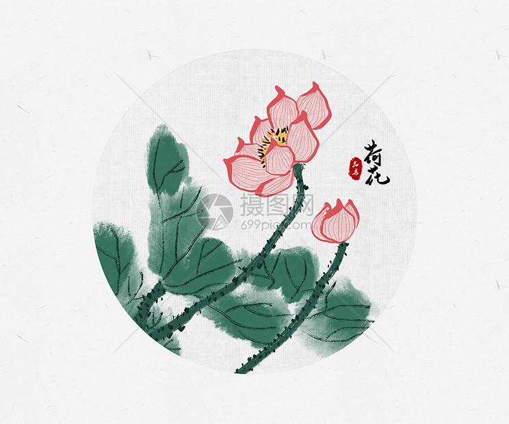 荷花中国风图片