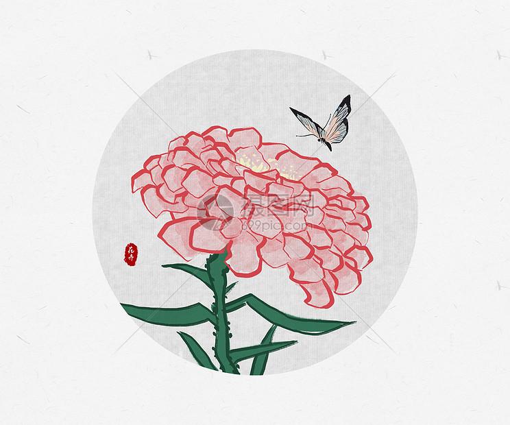 花卉蝴蝶中国风图片