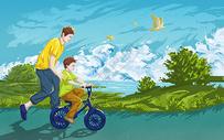 学自行车的父子图片