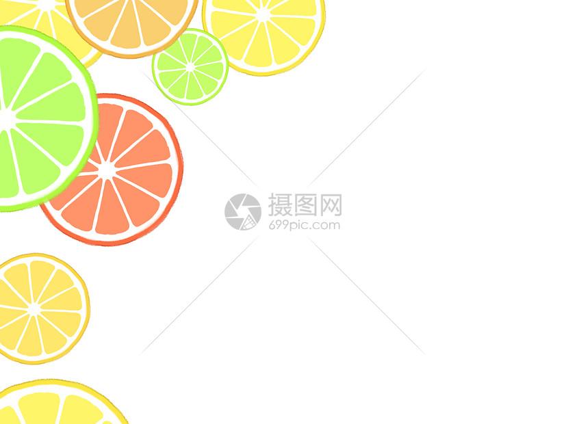 柑橘水果二分之一留白背景图片
