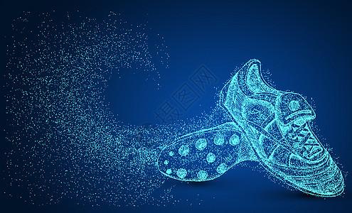 创意足球鞋剪影粒子图片