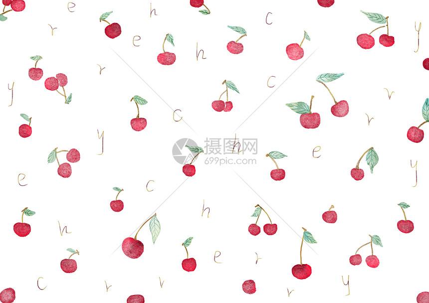 水彩樱桃图案背景图片