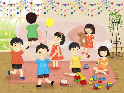 儿童节小朋友一起玩耍图片
