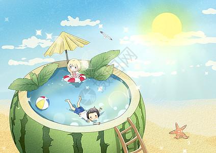 夏天西瓜泳池图片