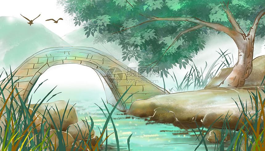 中国风小桥流水背景图片