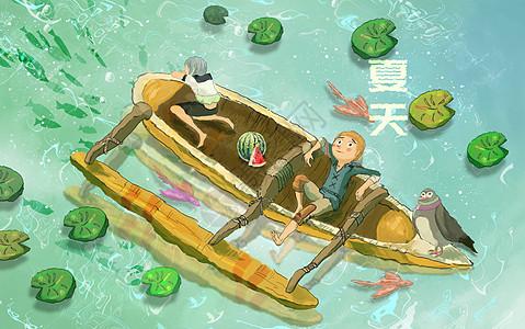 夏天荷塘划船图片素材