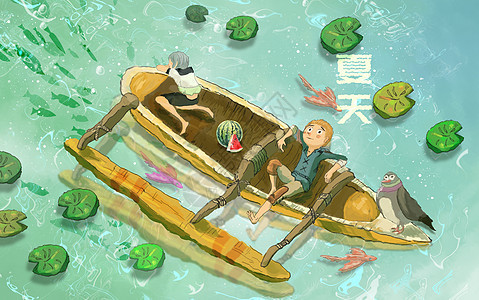 夏天荷塘划船图片