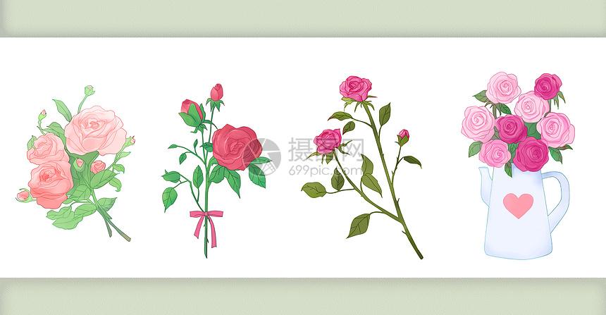 玫瑰花水彩花卉元素图片