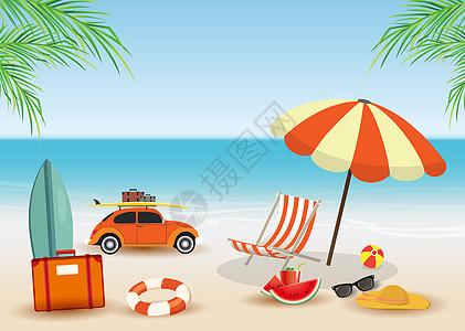 夏季海滩度假插画图片