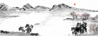 中国风山水水墨背景图片