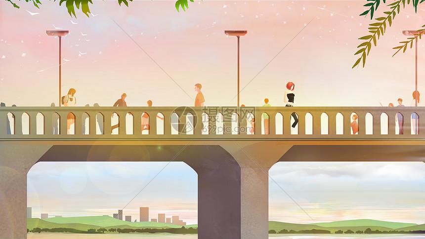 步行桥上的女孩图片